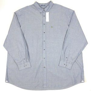 Lacoste 5XLT Gray Long Sleeve Button Dress Shirt
